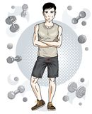 Handsome brunet young man is standing on simple background with. Dumbbells and barbells. Vector illustration of sportsman.  Active and healthy lifestyle theme Royalty Free Stock Image