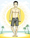 Handsome brunet young man standing on tropical beach in shorts. Vector athletic male illustration. Summer vacation lifestyle theme cartoon Royalty Free Stock Photography