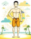 Handsome brunet young man standing on tropical beach in shorts. Vector athletic male illustration. Summer vacation lifestyle theme cartoon Stock Image