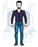 Handsome brunet young man standing. Vector illustration of man w. Ith beard and mustaches wearing stylish casual clothes Royalty Free Stock Images