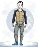 Handsome brunet young man standing. Vector illustration of sport Stock Images