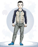 Handsome brunet young man standing. Vector illustration of sport Stock Photo