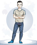 Handsome brunet young man standing. Vector illustration of sport Royalty Free Stock Image