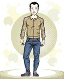 Handsome brunet young man standing. Vector illustration of sport Stock Photos