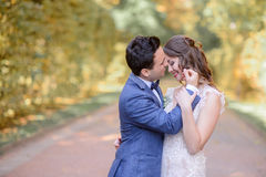 Handsome brunette groom touches bride`s face. While they pose in park Royalty Free Stock Image