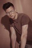 Handsome brutal man in glasses. Portrait. Stock Images