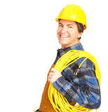 Handsome builder. In yellow uniform. Isolated over white background Stock Photo