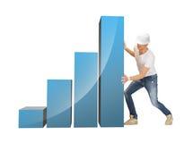 Handsome builder moving big chart Stock Image