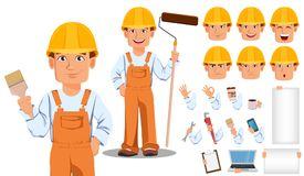 Handsome builder in uniform. Professional construction worker. Handsome builder in uniform cartoon character creation set. Professional construction worker Stock Photo