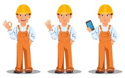 Handsome builder in uniform. Professional construction worker. Handsome builder in uniform, cartoon character set. Professional construction worker. Smiling Royalty Free Stock Photo