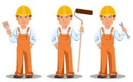 Handsome builder in uniform. Professional construction worker. Handsome builder in uniform, cartoon character set. Professional construction worker. Smiling Stock Photography
