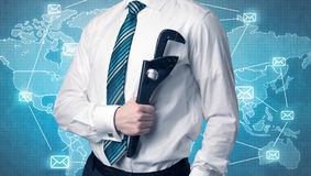 Handsome businassman standing with tool on his hand Royalty Free Stock Images