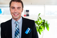 Handsome business executive smiling at the camera Royalty Free Stock Images