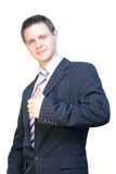 Handsome business man. A man in business suit standing with hand Royalty Free Stock Image