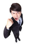 Handsome business man with arms raised in success. Excited handsome business man with arms raised in success in full length Isolated on white background,  high Stock Images