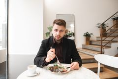 Business man with a beard sitting in a cozy restaurant at the table, eating salad and looking at the camera. Handsome business man with a beard sitting in a cozy royalty free stock photography