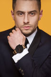 Handsome business man in a business suit Royalty Free Stock Images