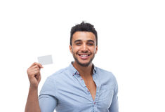 Handsome business man displaying blank empty business card happy smile Royalty Free Stock Images