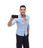 Handsome business man displaying mobile cell smart phone take photo happy smile Stock Photo