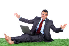 Handsome business man feeling happy Stock Images