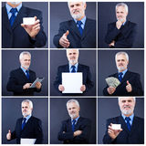 Handsome Business Man Holding Blank Card Royalty Free Stock Images