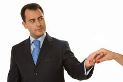 Handsome business man holding lady�s arm Stock Photos