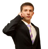 Handsome business man with a phone in their hands Royalty Free Stock Photos