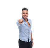 Handsome business man point finger at you happy smile Royalty Free Stock Photography