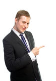 Handsome business man pointing Stock Images
