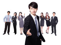 Handsome business man smile shake hand Royalty Free Stock Photos