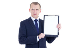 Handsome business man in suit with blank clipboard isolated on w Stock Image