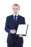 Handsome business man in suit holding blank clipboard isolated o Royalty Free Stock Images