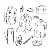 Handsome business man suit. office uniform. vector sketch  Stock Photos