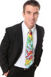 Handsome Business Man with Travel Tie Royalty Free Stock Photography