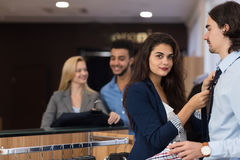 Handsome Business Man And Woman Fashion Shop, Customers Choosing Clothes In Retail Store. Young People Shopping Formal Wear Stock Images