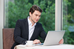 Handsome business man working on laptop. Royalty Free Stock Image