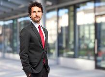 Handsome businessman against blurry background Stock Photography