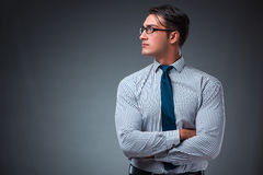 The handsome businessman against gray background Royalty Free Stock Photo