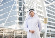 Handsome businessman arabic stand in the city stock photos