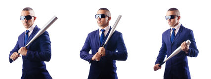 The handsome businessman with bat on white Stock Image