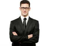 Handsome businessman in black suit on white. Stock Photos