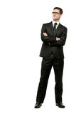 Handsome businessman in black suit on white. Royalty Free Stock Image