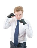 Handsome businessman boxer Royalty Free Stock Photos