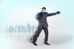 Handsome businessman boxer. Royalty Free Stock Photography