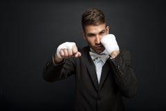 Handsome businessman boxer Stock Images