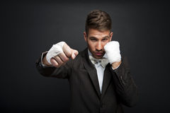 Handsome businessman boxer Stock Images