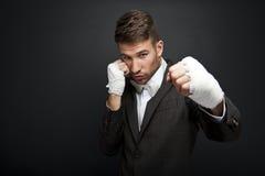 Handsome businessman boxer Stock Image
