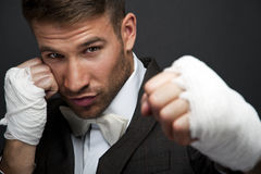 Handsome businessman boxer Royalty Free Stock Image