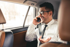 Handsome businessman in car Royalty Free Stock Photography