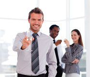 Handsome businessman celebrating a success Stock Image